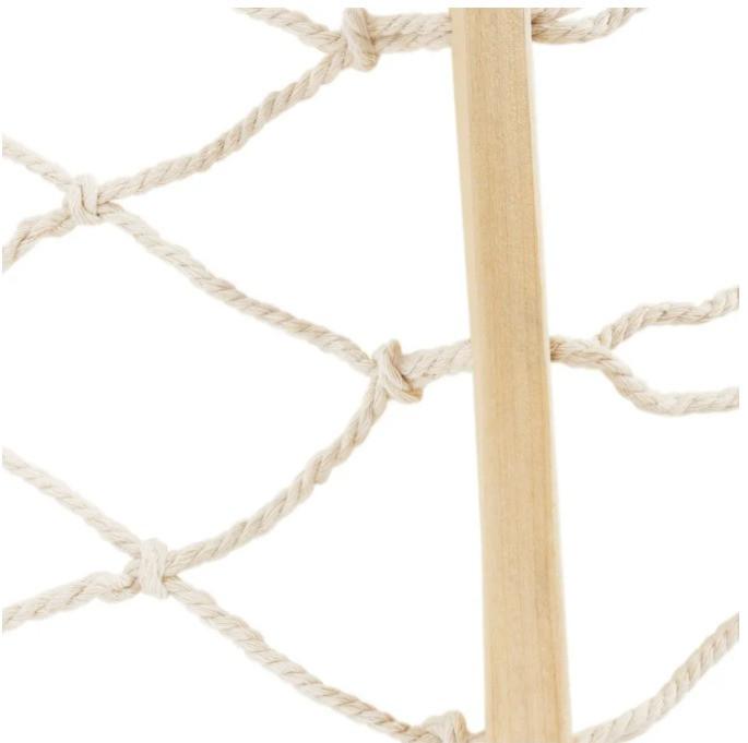 Гамак подвесной веревочный плетеный складной с деревянными планками 200х80 см бежевый - фото 8