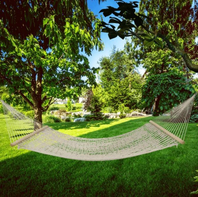 Гамак подвесной веревочный плетеный складной с деревянными планками 200х80 см бежевый - фото 9