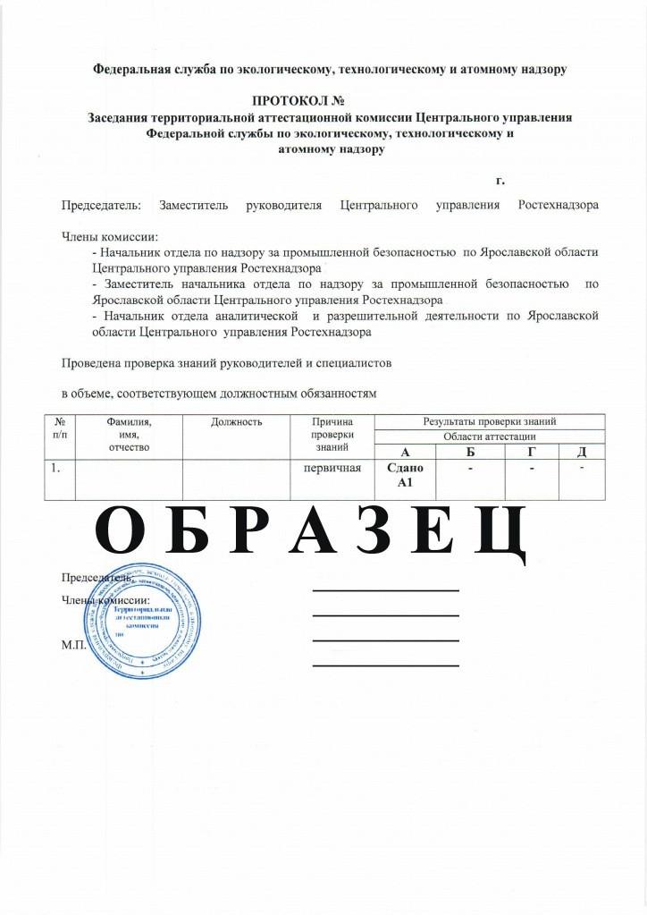 Протокол квалификационной проверки подтверждающих группу допуски III (третья)