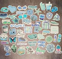Декоративные наклейки виниловые водостойкие для ноутбука скейта велосипеда 50шт Summer (кеды свеча мороженное)
