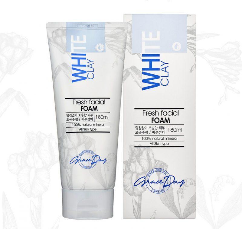Пенка для умывания лица Grace Day White Clay Fresh Facial Foam с белой глиной