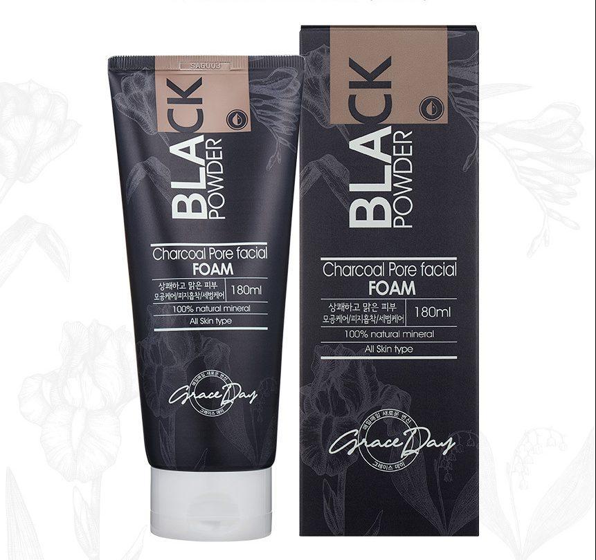 Пенка для умывания лица Grace Day Black Powder Charcoal Pore Facial Foam с черным углем