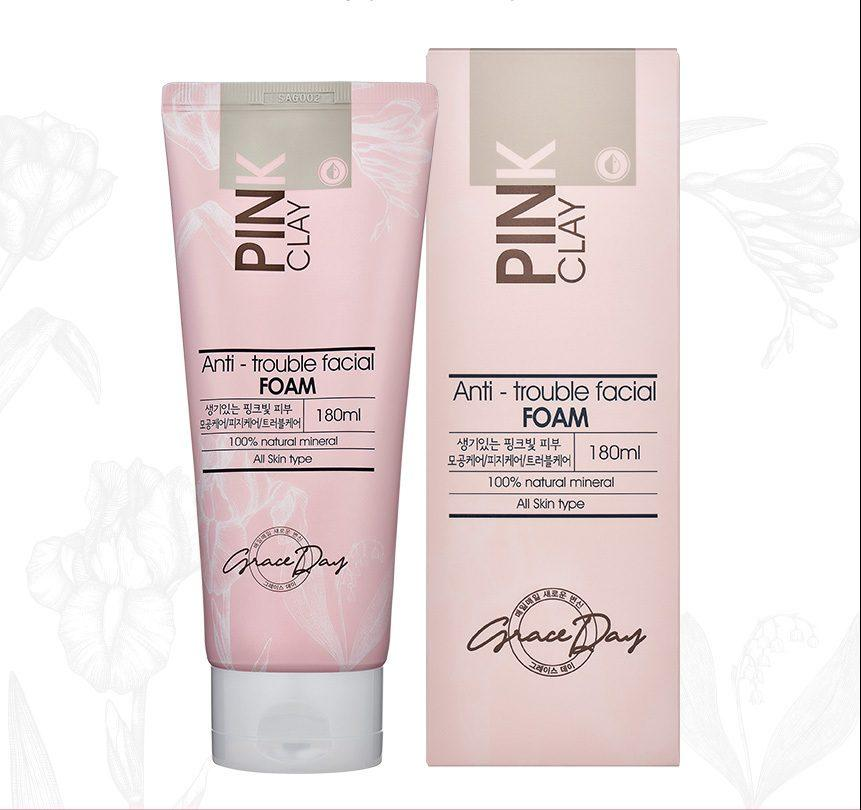 Пенка для умывания лица Grace Day Pink Clay Anti-Trouble Facial Foam с розовой глиной