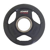 Диск олимпийский Johns 91010 черный обрезиненный (15 кг)