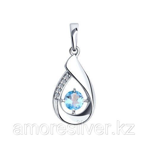 Подвеска Diamant (SOKOLOV) серебро с родием, топаз фианит  94-330-00695-1