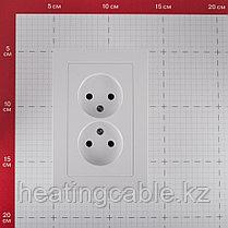 Atlas Design розетка 2-я без заземления в СБОРЕ скрытой установки белая, фото 2