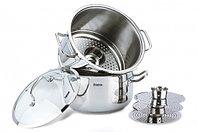 5107 FISSMAN Пароварка для мантов ORAMA 5 ярусов 32x15 см + 32x24 см со стеклянной крышкой (нерж. сталь)