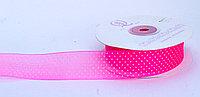 Декоративная лента из органзы полу-прозрачная, розовая в горошек, 3 см