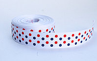Лента репсовая (из плотной ткани), в горошек, белая, 2 см