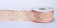 Лента упаковочная тканная, в горошек, светло-розовая