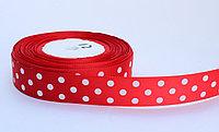 Лента упаковочная, в горошек, красная, 2 см