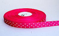 Лента упаковочная, в горошек, розовая, 1.5 см