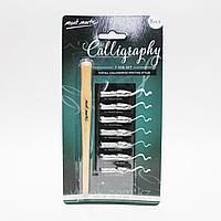 Перья для пишущих ручек каллиграфические, набор 7 шт+ручка