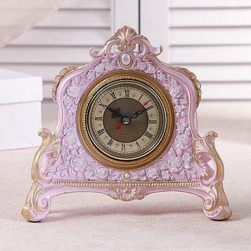 """Часы настольные """"Каминные"""", цвет  розовый, 21х19х6.5 см"""