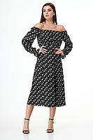 Женское осеннее из вискозы платье Anelli 1040 черный_цветы 44р.