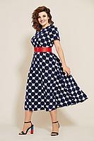 Женское летнее льняное большого размера платье Mubliz 565 синий-белый 48р.
