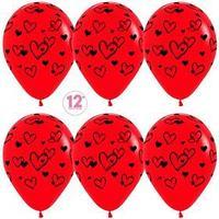 Шар латексный 12' 'Набросок сердец', пастель, 5-сторонний, набор 50 шт.