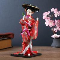 Кукла коллекционная 'Японка с цветочной ветвью и в шляпе'