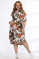 Женское летнее хлопковое большого размера платье Angelina & Сompany 544 оранжевые_цветы 52р.