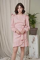 Женское осеннее хлопковое розовое нарядное платье JRSy 2022 /1 44р.