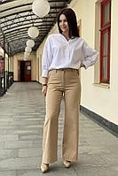 Женские осенние хлопковые бежевые брюки S.O.L O Me 880 бежевый 42р.