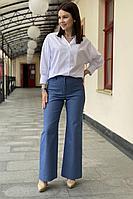 Женские осенние хлопковые синие брюки S.O.L O Me 880 синий 42р.