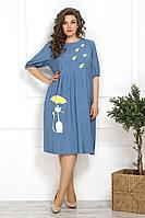 Женское летнее из вискозы голубое большого размера платье Solomeya Lux 820 голубой 58р.