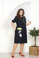 Женское летнее из вискозы синее большого размера платье Solomeya Lux 820 синий 58р.