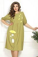 Женское летнее из вискозы большого размера платье Solomeya Lux 820 хаки 52р.
