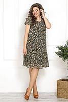 Женское летнее шифоновое коричневое большого размера платье Solomeya Lux 815 светло-коричневый 48р.