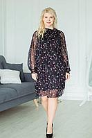 Женское летнее шифоновое черное большого размера платье ASV 2172 черный,красный 54р.