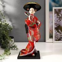 Кукла коллекционная 'Китаянка с веером в шляпе' 30х12,5х12,5 см