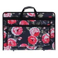 Папка А3 с ручками каркасная, текстиль, 40 мм, 420 х 300 мм, 'Вдохновение', с внешним карманом, 'Розы'