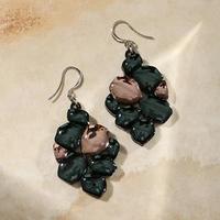 Серьги из акрила 'Саламандра' камни, цвет коричнево-зелёный