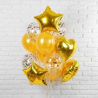 Букет из шаров 'Романтика', фольга, латекс, золотой, набор из 14 шт.