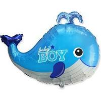 Шар фольгированный 34' фигура 'Кит BABY BOY голубой'