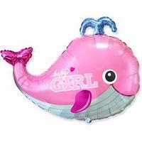 Шар фольгированный 34' фигура 'Кит BABY GIRL розовый'