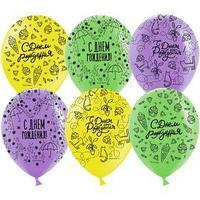 Шар латексный 12'' 'С Днем Рождения! модный паттерн' пастель МИКС, 5 ст, набор 25 шт.