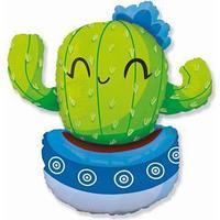 Шар фольгированный 36' фигура 'Кактус в голубом кашпо'