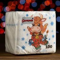 Салфетки бумажные Гармония цвета многоцветие 'Новогодняя коровка', 24*24 см 100 листов