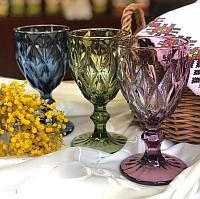 Набор бокалов для вина 6шт Фужеры цветные 17 см стекло. Зеленый Темный Синий Фиолетовый Бордовый Прозрачный З