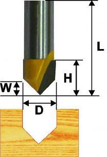 Фреза пазовая галтельная ф25,4 мм V-обр 90° хвостовик 12 мм