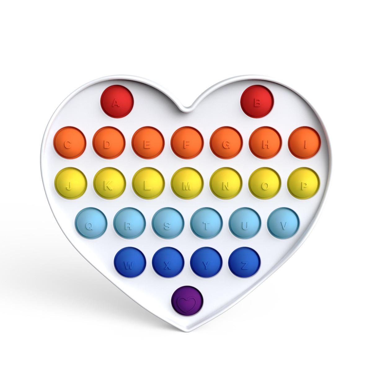 Игрушка антистресс Pop it на пластиковой основе сердце - фото 1