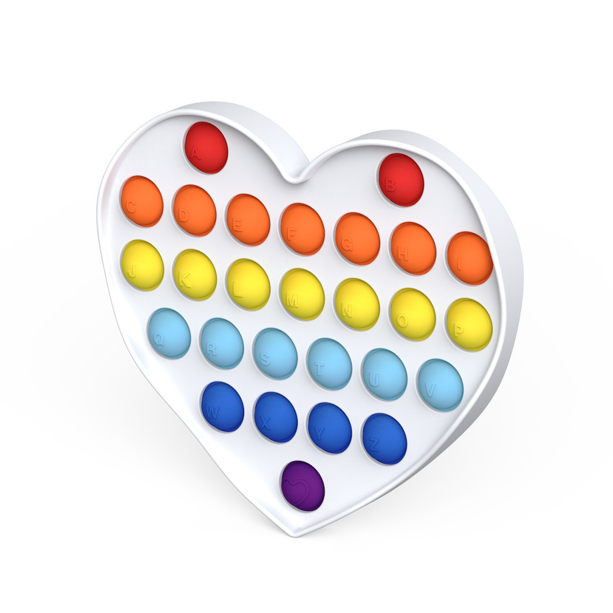 Игрушка антистресс Pop it на пластиковой основе сердце - фото 2