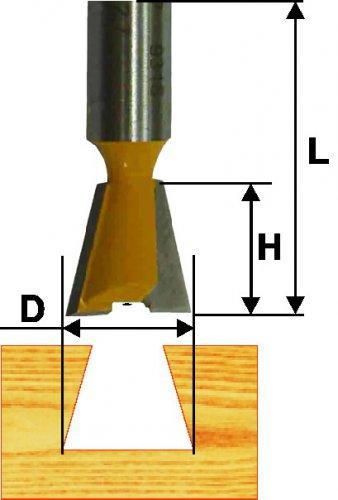 Фреза пазовая Ф19Х22 мм, 7°, ласточкин хвост, хвостовик 8 мм