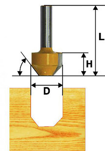 Фреза пазовая фасонная Ф11,9Х13 мм, 22°, хвостовик 8 мм