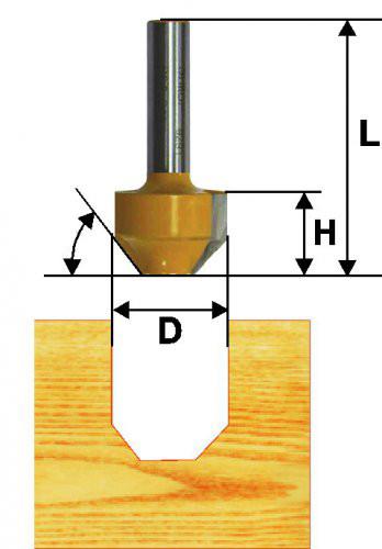 Фреза пазовая фасонная Ф11,9Х13 мм, 45°, хвостовик 8 мм