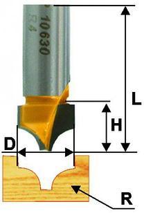 Фреза пазовая фасонная Ф9,5Х9,4 мм R4 мм, хвостовик 8 мм