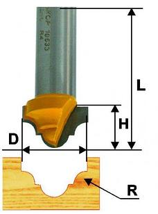 Фреза пазовая фасонная Ф19Х12,7 мм R4 мм, хвостовик 12 мм