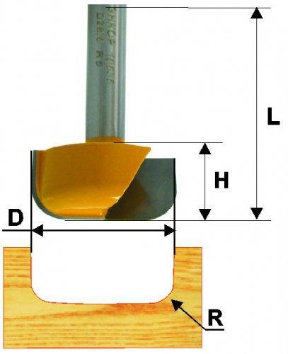 Фреза пазовая фасонная Ф28.6Х13 мм R6,3 мм, хвостовик 8 мм
